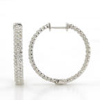 Classic Ladies 14K White Gold Diamond 2.06CTW Inside Out Hoop Earrings
