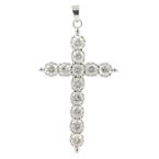 Classic Estate 12K White Gold Diamond 1.80CTW 55MM Cross Pendant