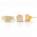Fine Estate 14K Yellow Gold Diamond 3.85CTW 2PC Ring Earrings Set