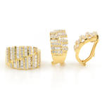 Ladies Estate 18K Yellow Gold Diamond 3.40CTW 2PC Ring Earrings Jewelry Set
