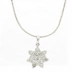 "Estate 18K White Gold Diamond Rosita Pendant 15"" White Gold Chain - 1.60 CTW"