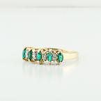Estate Diamond Marquies Green Stone 14K Yellow Gold Gift Ring Closeout Sale
