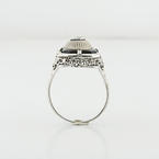 Art Deco Filigree Diamond Onyx Ladies 14K White Gold Jewelry Collectable Ring