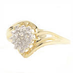 Modern Womens 10K Yellow Gold Diamond Illusion Setting Right Hand Ring