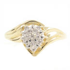 Exquisite Modern 10K Yellow Gold Diamond Illusion Setting Gorgeous Ladies Ring