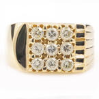 Mens Estate 14K Yellow Gold Diamond 0.90CTW Ring Size 10.5