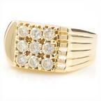 Mens Estate 14K Yellow Gold Diamond 0.90CTW Ring Size 10.5