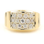 Mens Estate 14K Yellow Gold Diamond .99CTW Ring Size 11