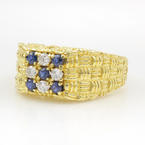 Estate Men's 18K Yellow Gold Blue Sapphire Diamond Ring Size 10.75
