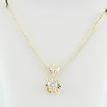 1/3 Carat Diamond Solitaire Pendant 14K Yellow Gold Flower Charm Chain Necklace