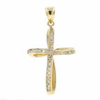 Vintage Classic Ladies 14K Yellow Gold Cross Diamond Pendant - 45MM -  0.48CTW