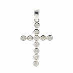 Vintage Classic Estate 14K White Gold Diamond Cross Pendant - 45MM - 0.77CTW