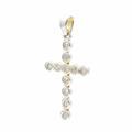 Vintage Classic Estate 14K White Gold Diamond Cross Pendant - 45MM - 0.77CTW