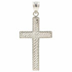 Classic 14K White Gold Diamond Cut Cross 35MM Pendant