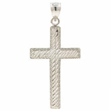 Classic Estate 14K White Gold Diamond Cross Pendant - 35MM