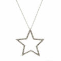 "Beautiful 925 Silver Diamond Star Pendant 18"" 10K White Gold Chain Necklace"
