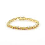 Estate 14K Yellow Gold Red Spinel Diamond Tennis 7 Inch Bracelet