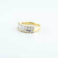 1 CTW Princes Round Diamond 3 Row 14K Yellow Gold Ladies Wedding Stackable Band