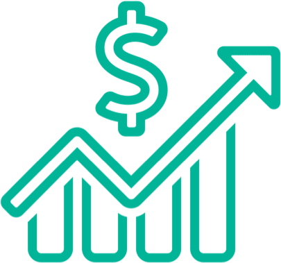 illustration of a dollar sign above a graph trending upwards