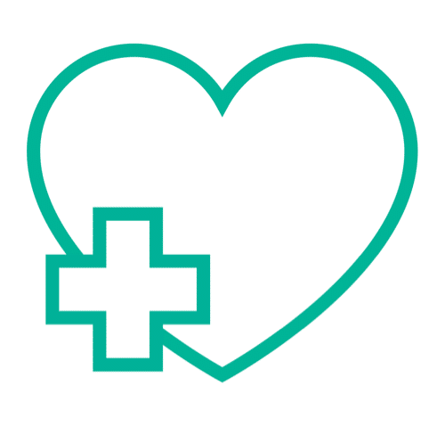 illustration of a heart with a hospital symbol in front of it