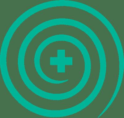 hospital symbol with spirals around it