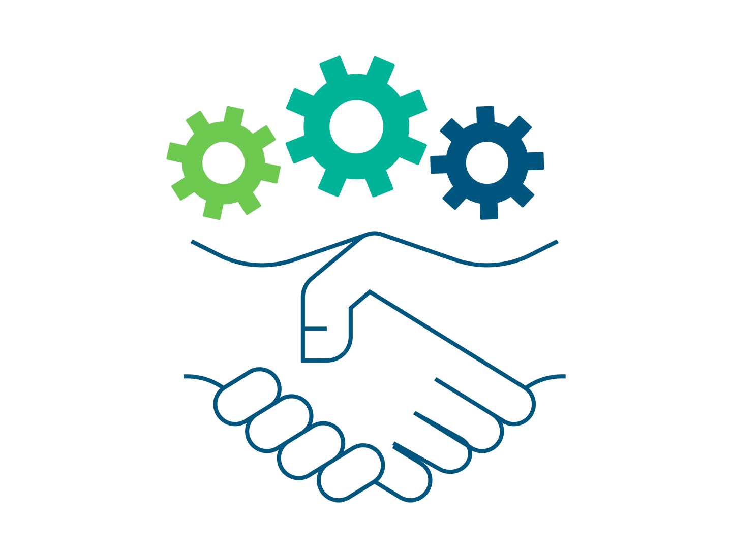 illustration of a handshake with three mechanical gears above it
