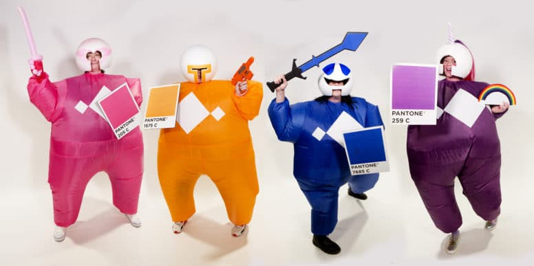 Attane employees dress as Pantone Ninjas for an office Halloween party