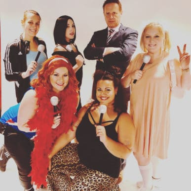 A group of Attane employees dressed as The Spice Girls for a company Halloween party