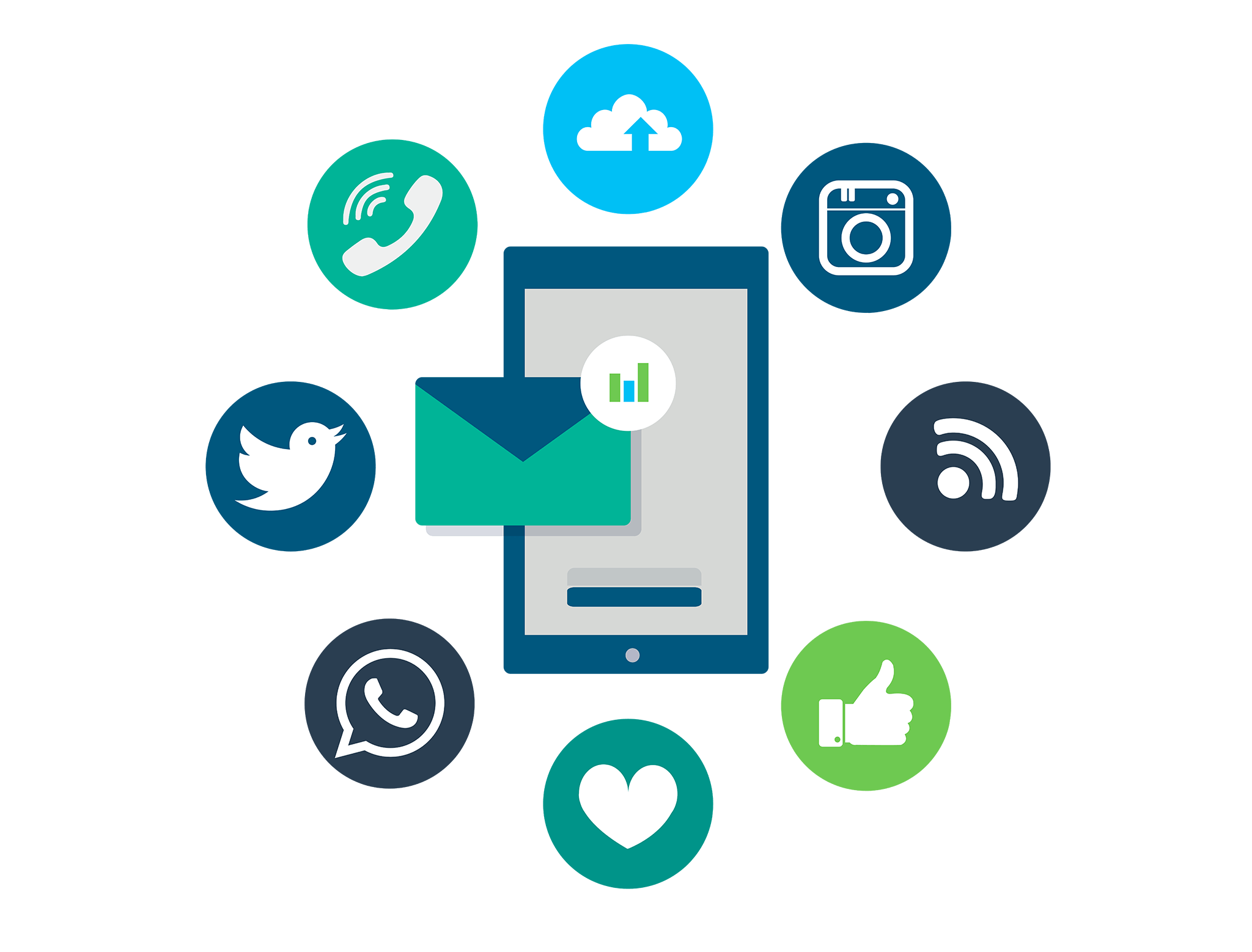 Illustration of a smartphone with icons around it showing various social media logos