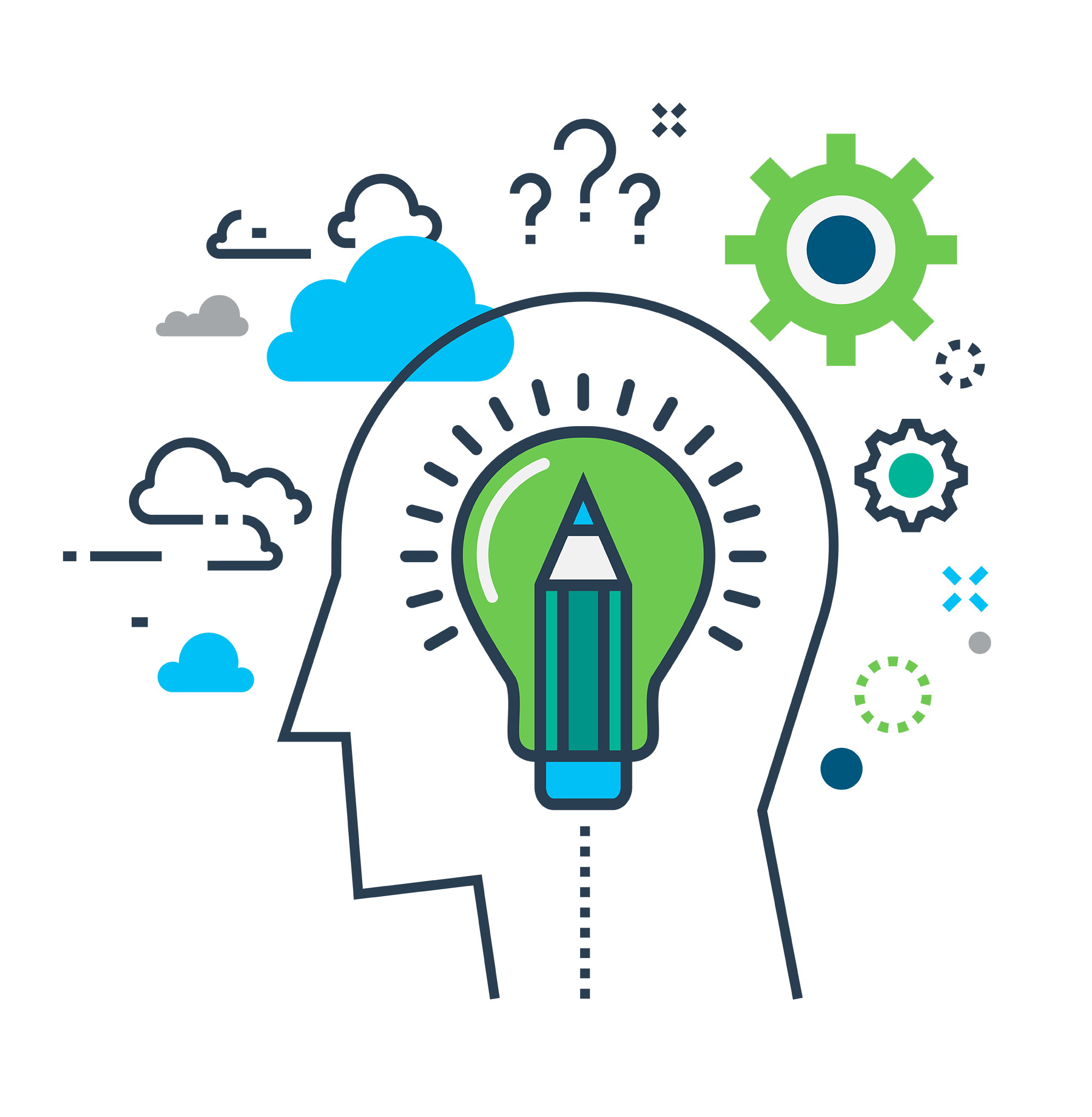 Illustration of a head with a pencil and lightbulb in the middle with clouds and question marks surrounding it