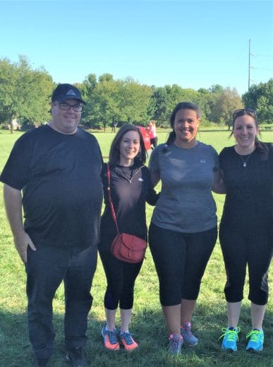 Four Attane employees participating in the Kansas City Corporate Challenge