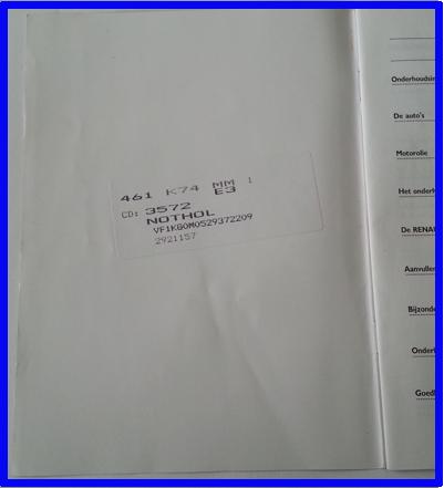 sticker in het onderhouds boekje