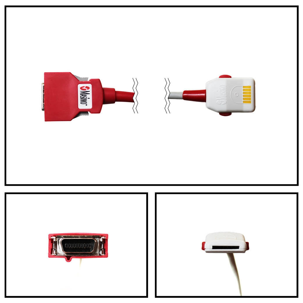 OEM Masimo SET 2058 Red PC-04 4FT/1.2M SpO2 Patient Extension Adapter Cable LNOP F-Tab to Red 20 Pin Connector