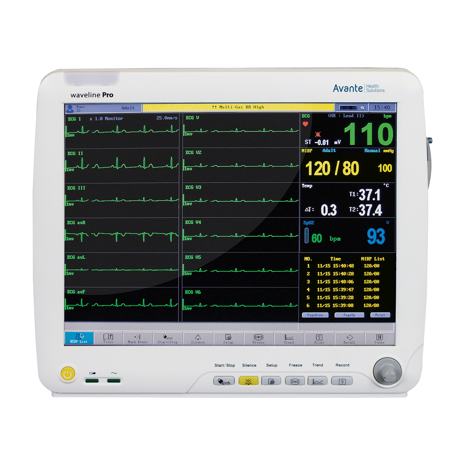 Avante Waveline Pro Touch-Screen Anesthesia Monitor