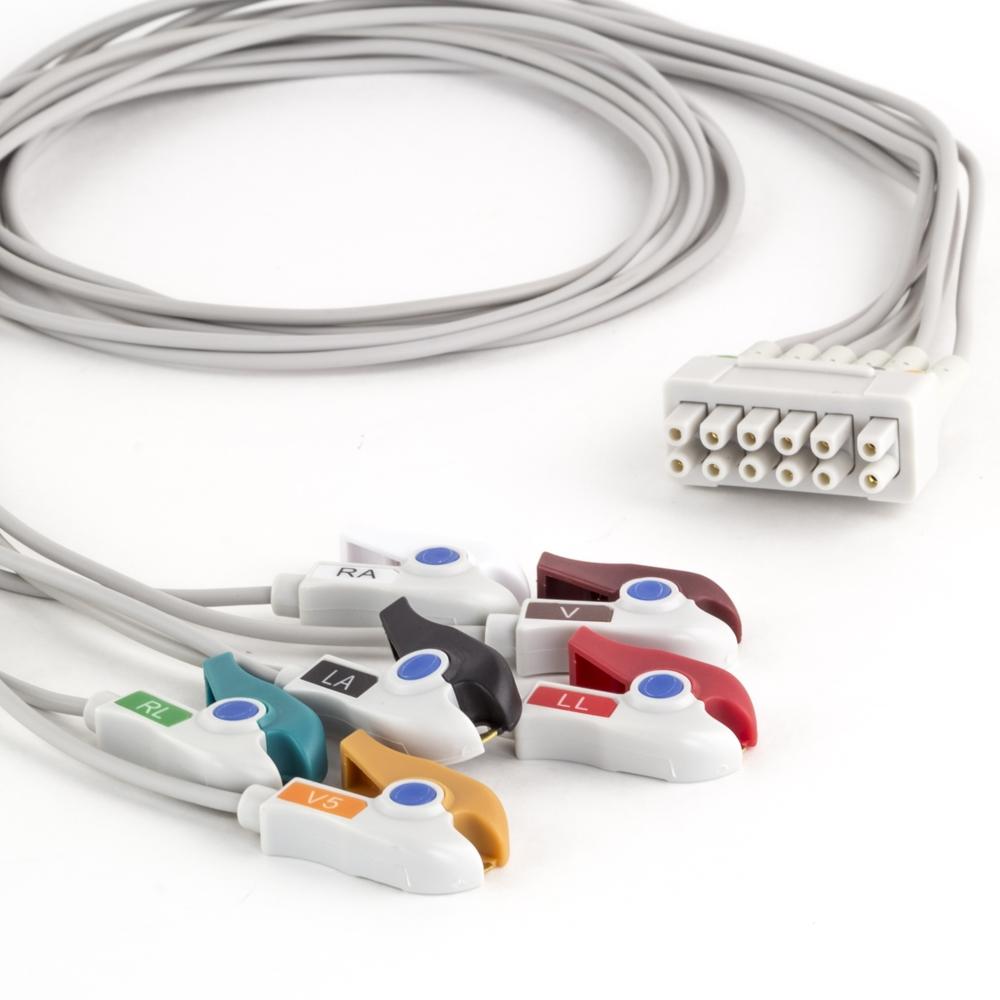 GE 6 Lead Dual Apex ECG Telemetry Leadwires - Grabber