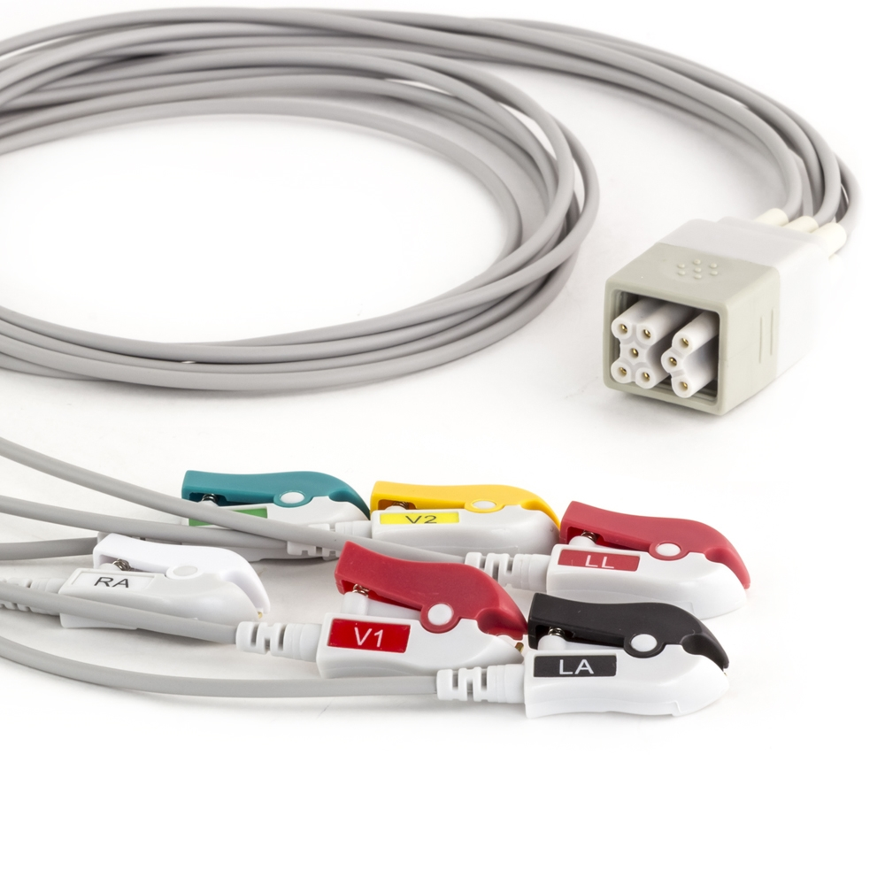 GE Apex Pro FH Telemetry 6 Lead Shielded ECG Leadwires - Grabber