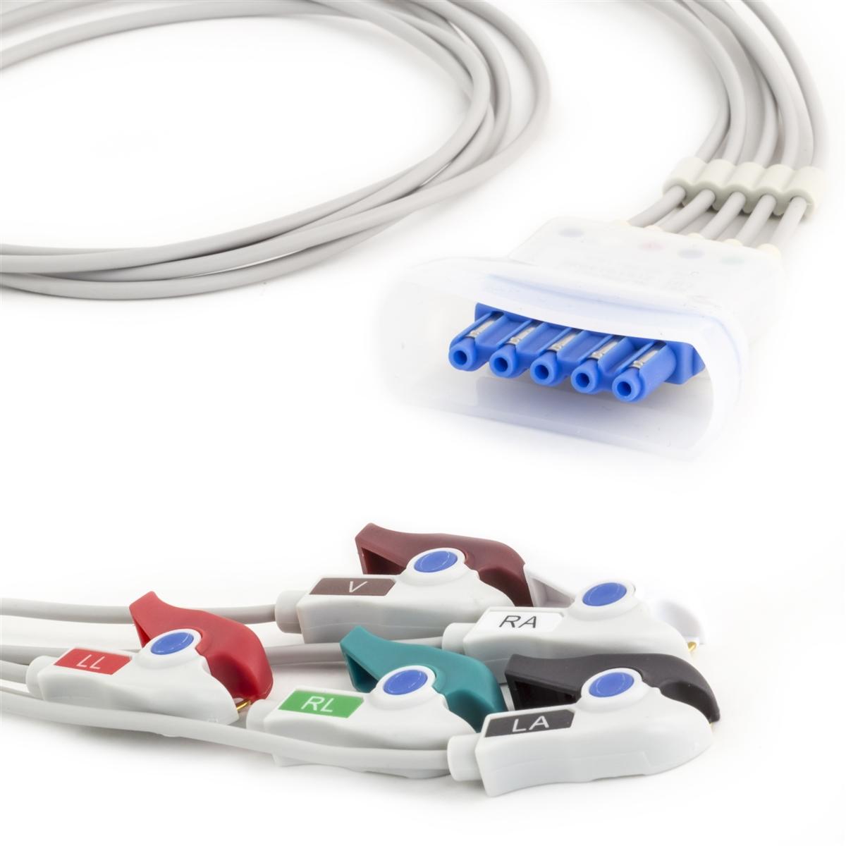 Philips 5 Lead Single Pin w/Tele Shield ECG Leadwires - Grabber