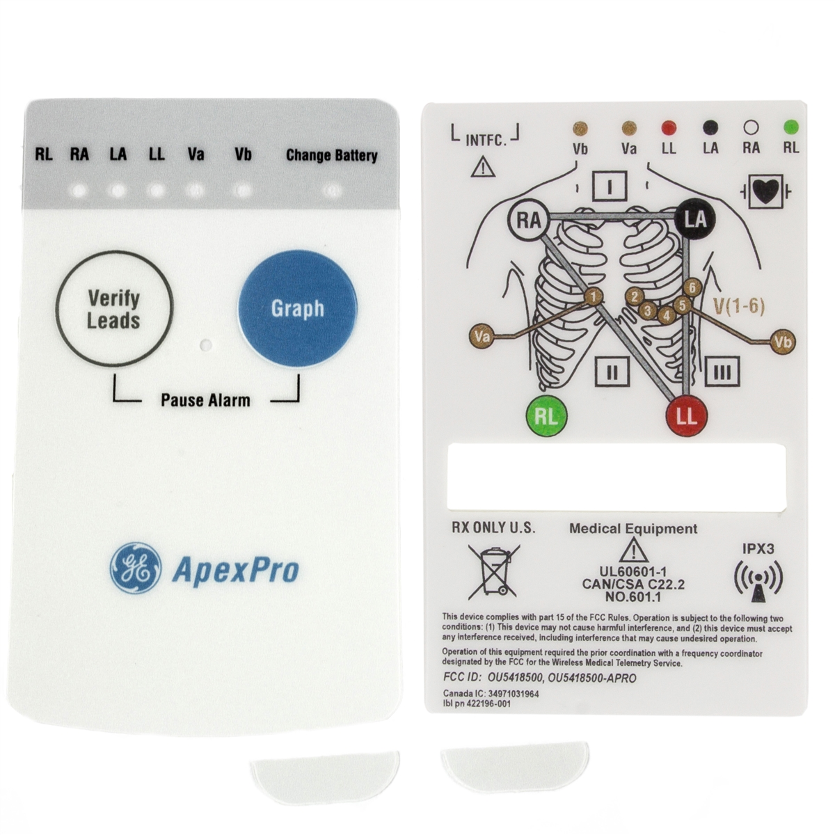 GE ApexPro Telemetry Transmitter Front & Rear Overlays & ECG Block Screw Covers