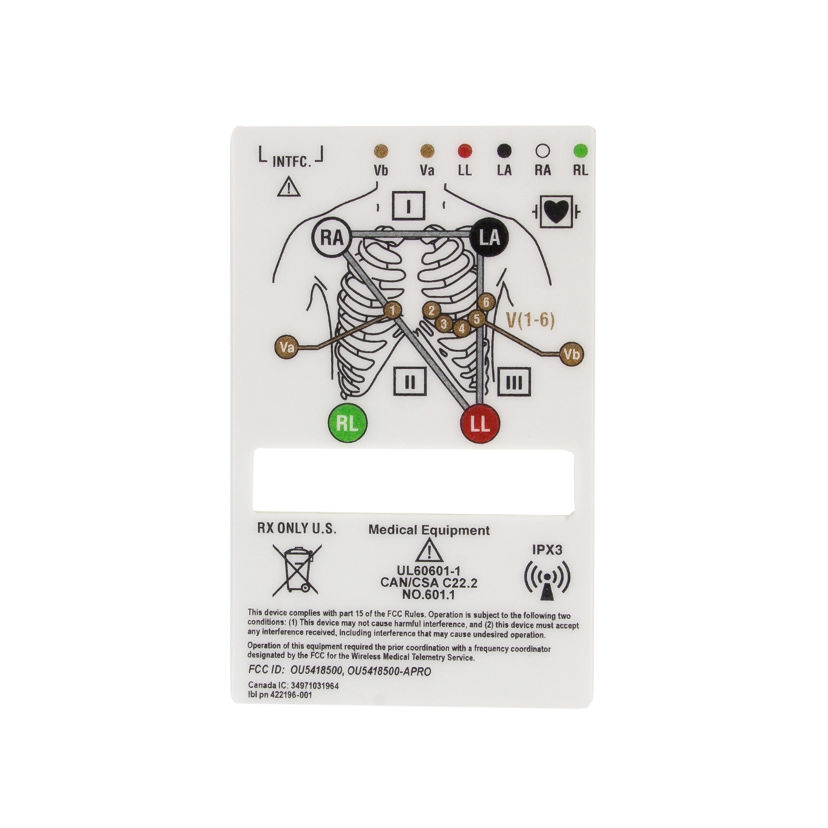 GE ApexPro Telemetry Transmitter Rear Back Overlay Label