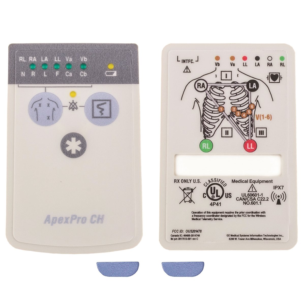 GE ApexPro CH Telemetry Transmitter Front & Rear Overlays & ECG Block Screw Covers