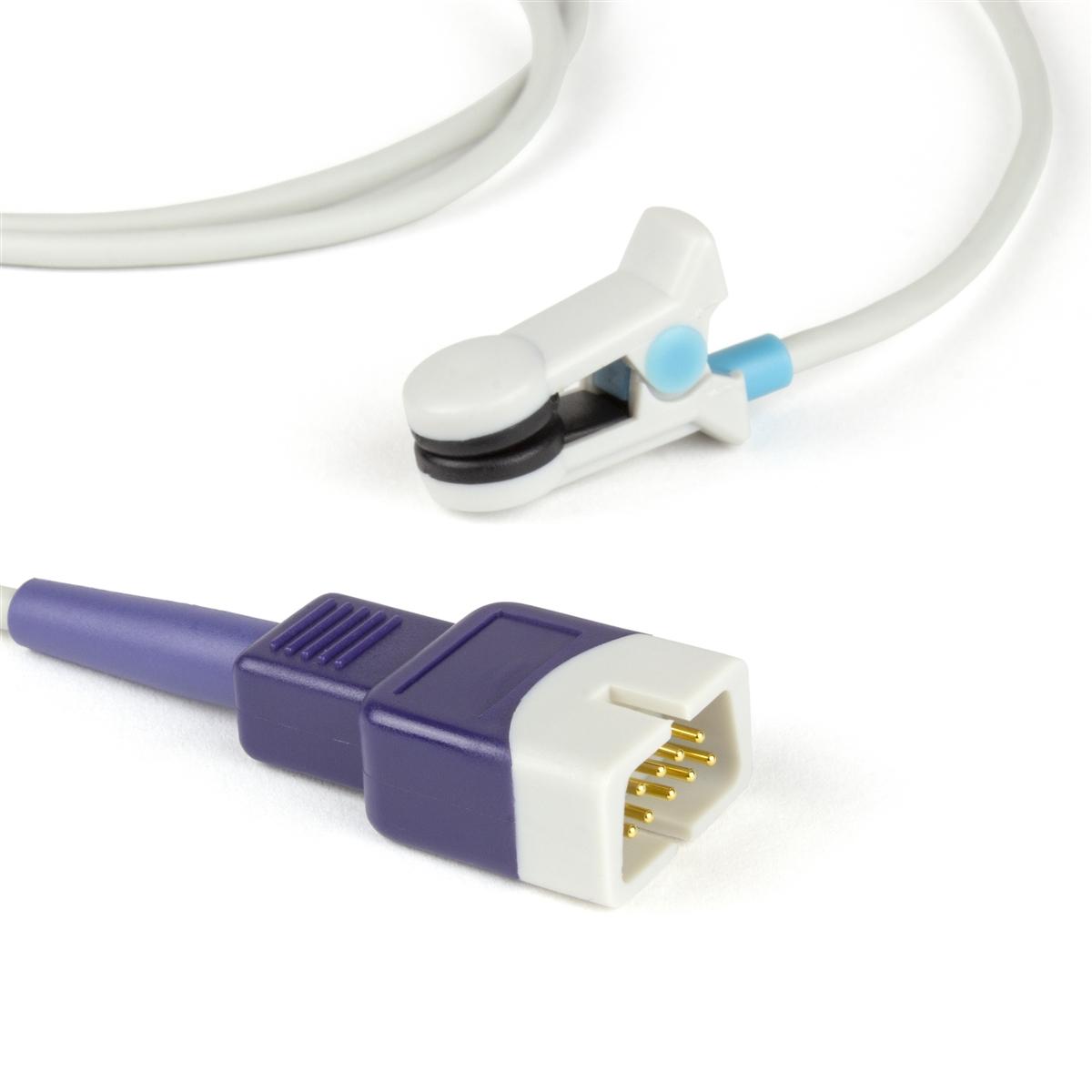 Nellcor Compatible OxiMax Ear Clip SpO2 Sensor OxiMax DB9 9 Pin Connector 3FT/1M Cable