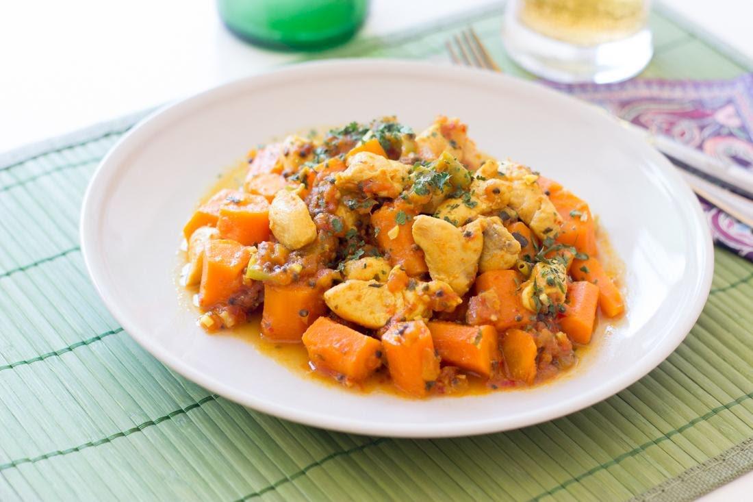 Pollo con zanahoria salteada