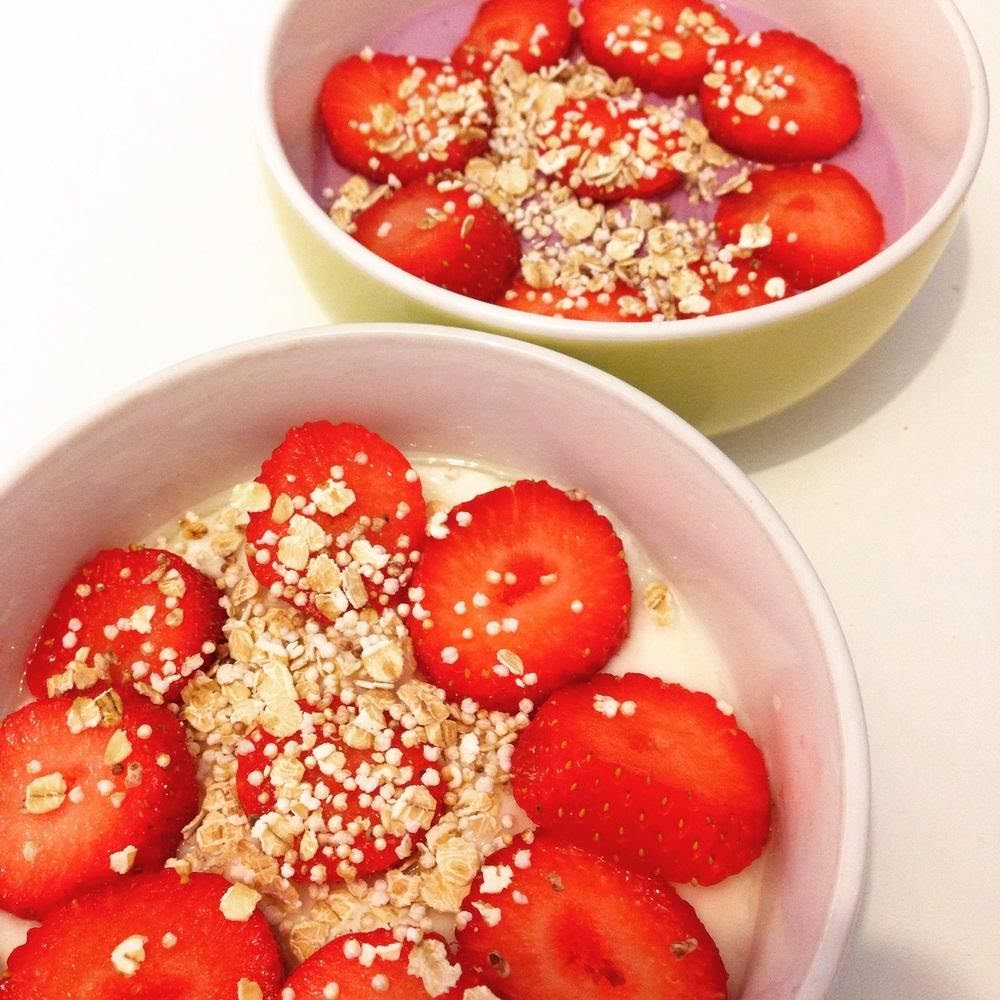 Cereal de amaranto con fresas