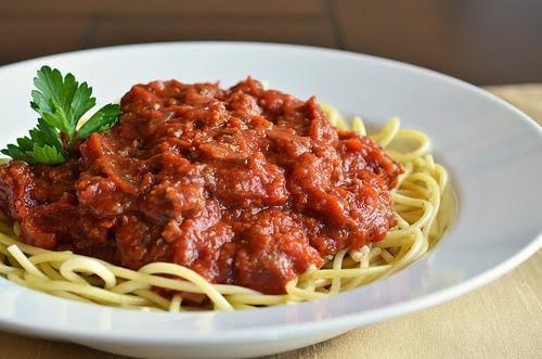 Espaguetti con res sin grasa