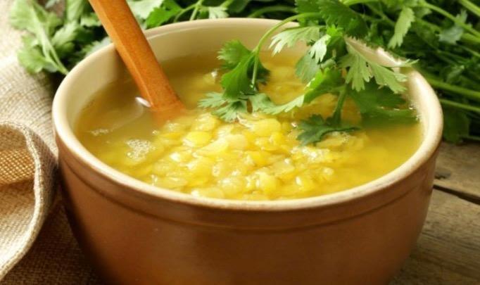 Sopa de lentejas y tofu