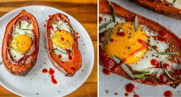 Camote relleno de huevo acompañado de brócoli