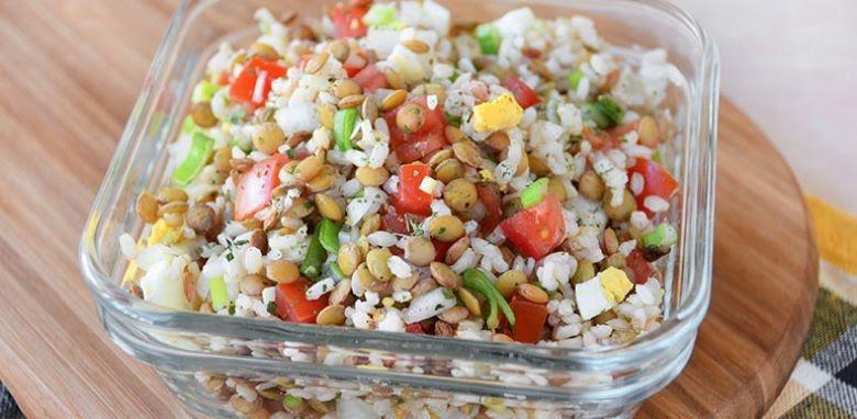 Ensalada de arroz y lenteja