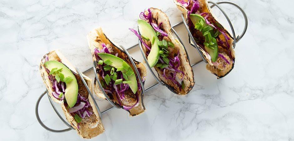 Tacos de coliflor  con lentejas  crujientes