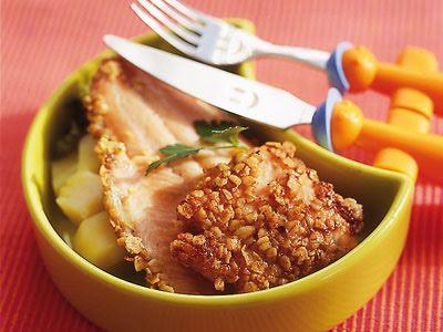 Filete de pescado con avena y verduras.