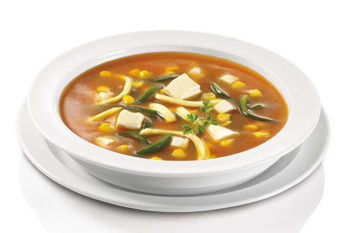 Sopa mexicana de rajas con queso